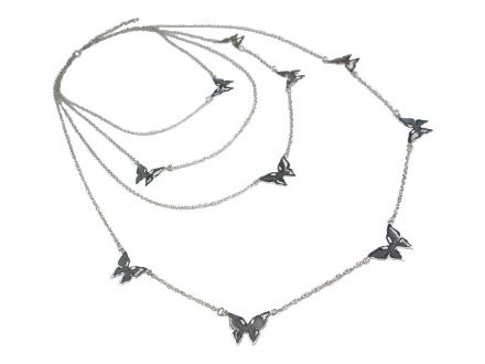Sterling Silver Multi Butterfly Necklace
